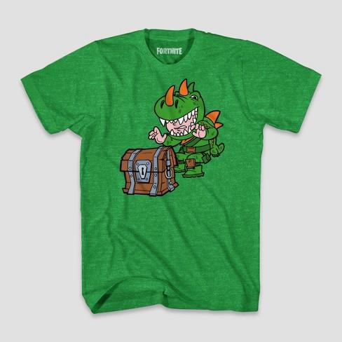 57893909 Boys' Fortnite Dinoguy Chibi & Chest Short Sleeve T-Shirt - Green Heather
