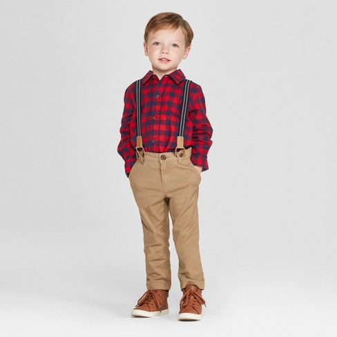 Toddler Boys' 3pc Buffalo Plaid Shirt, Pants and Suspenders Set - Cat & Jack™ Red/Brown 2T - image 1 of 3