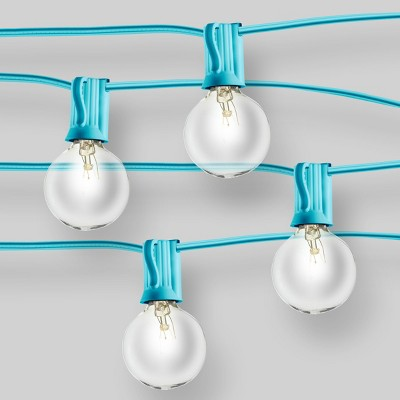 20ct String Lights G40 Clear Bulbs - Turquoise Wire - 16.8' - Room Essentials™