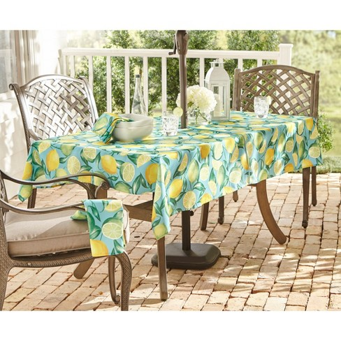 e796d8a6c2a1 Lemon Grove Stain Resistant Indoor Outdoor Tablecloth - Turquoise Blue -  Elrene Home Fashions   Target