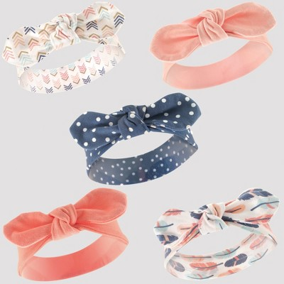 Hudson Baby Girls' 5pk Headbands - Coral/Blue 0-12M