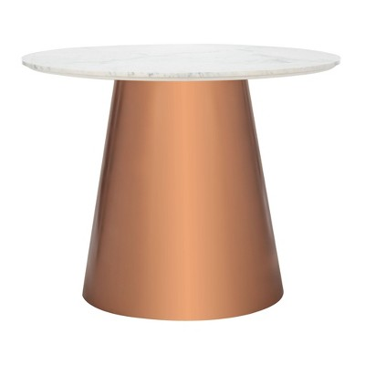 """40"""" Gail Round Marble Dining Table White/Copper - Safavieh"""