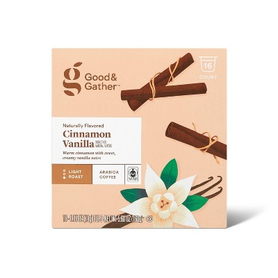 Naturally Flavored Cinnamon Vanilla Light Roast Coffee - 16ct Single Serve Pods - Good & Gather™