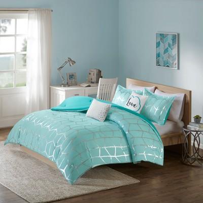 Aqua Arielle Brushed Comforter Set (Full/Queen)5pc