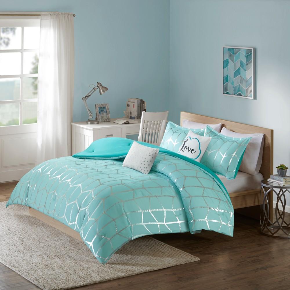 Aqua (Blue) Arielle Brushed Comforter Set (King/California King) 5pc