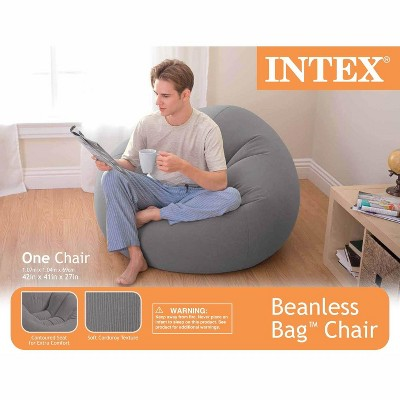 Intex 68579EP Inflatable 42L X 41W X27H Inch Contoured Corduroy Beanless Bag Lounge Chair, Gray : Target