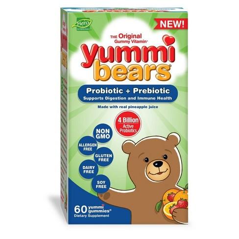 Yummi Bears Kids Probiotic + Prebiotic Gummies - 60ct - image 1 of 4