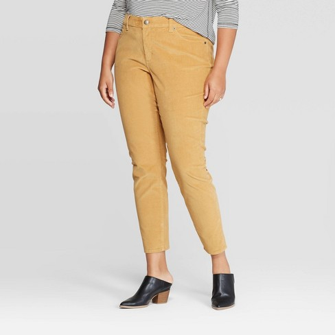Women's Plus Size Corduroy High-Rise Skinny Jeans - Universal Thread™ Yellow - image 1 of 3