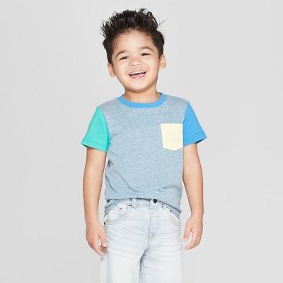 Toddler Boys' Short Sleeve Colorblock T-Shirt - Cat & Jack™ Blue 3T