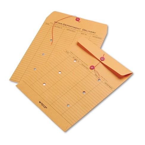 Quality Park Brown Kraft String & Button Interoffice Envelope 10 x 13 100/Carton 63561 - image 1 of 2