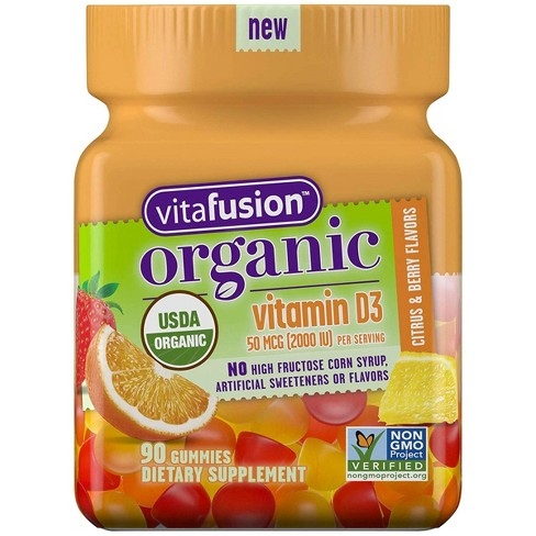 Vitafusion Organic Vitamin D3 Gummies - Citrus & Berry Flavors - 90ct - image 1 of 4