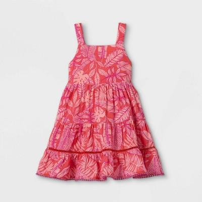Toddler Girls' Floral Tiered Tank Dress - Cat & Jack™ Coral