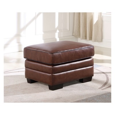 Merveilleux Evan Top Grain Leather Ottoman Brown   Abbyson Living : Target