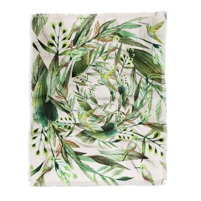 Marta Barragan Camarasa Nature In Circles Woven Throw Blanket Green - Deny Designs
