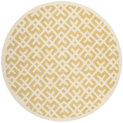 Light Gold/Ivory Geometric Tufted Round Area Rug 7' - Safavieh - image 1 of 1