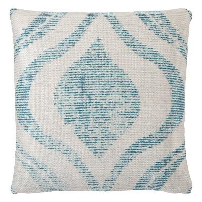 "18""x18"" Cymbal Indoor/Outdoor Geometric Throw Pillow Teal/Cream - Jaipur Living"
