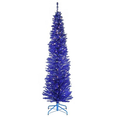 6ft National Christmas Tree Company Pre-Lit Blue Tinsel Artificial Christmas Tree with Metal Stand & 150 Clear Lights