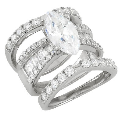 4.35 CT. T.W. Cubic Zirconia Engagement Ring Set In Sterling Silver