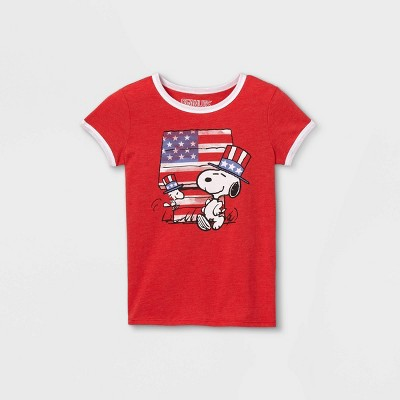 Girls' Peanuts Snoopy & Woodstock Ringer Short Sleeve Graphic T-Shirt - Red