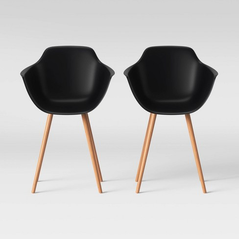 Set of 2 Miller Barrel Dining Chair with Wooden Legs Black - Project 62™ - image 1 of 4
