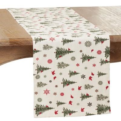 "Saro Lifestyle Christmas Tree & Snowflakes Holiday Table Runner, 14""x72"", Ivory"