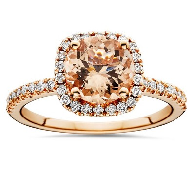 Pompeii3 1 1/4 CT Morganite & Diamond Cushion Halo Engagement Ring 14K Rose Gold