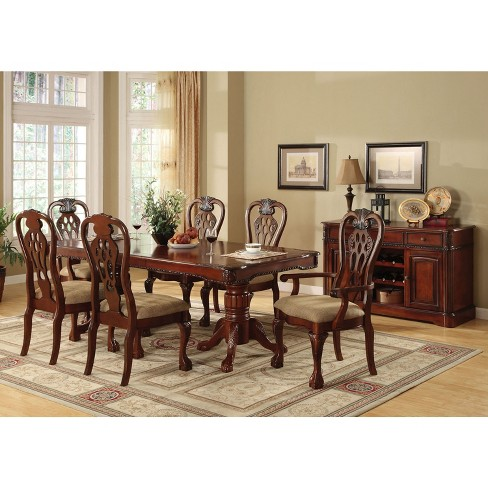 Sun Pine Elegant Wood Carved Padded Arm Chair Cherry Set Of 2 Target