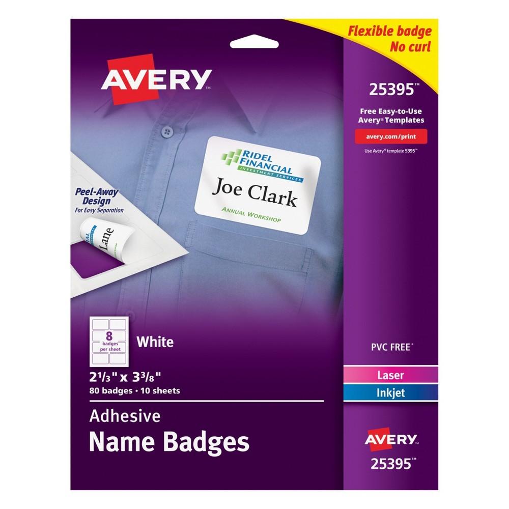 80ct Adhesive Name Badges 2.3 x 3.4 White - Avery