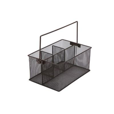 Mind Reader Storage Basket Organizer, Utensil Holder, Forks, Spoons, Knives, Napkins, Perfect for Desk Supplies, Pencil, Pens, Staples, Black Metal Mesh