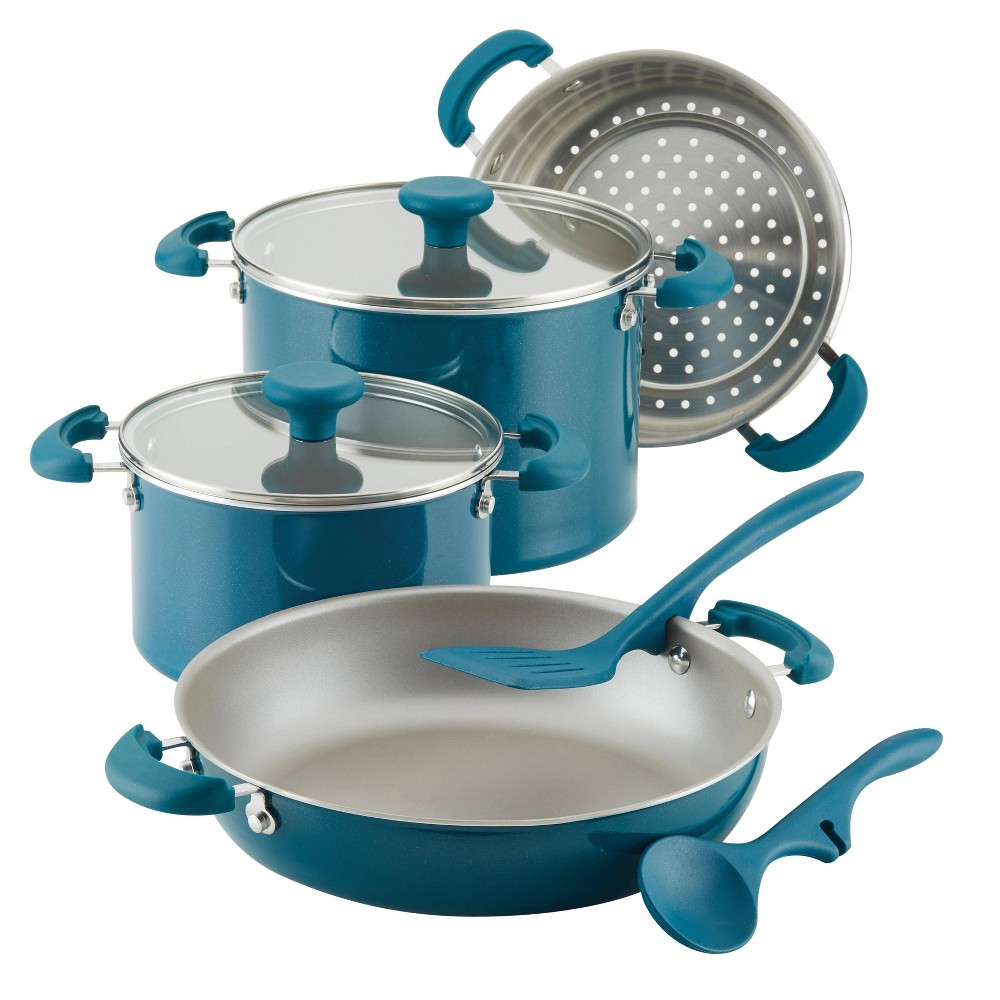 Rachael Ray Create Delicious 8pc Aluminum Nonstick Cookware Stacking Set Teal, Blue