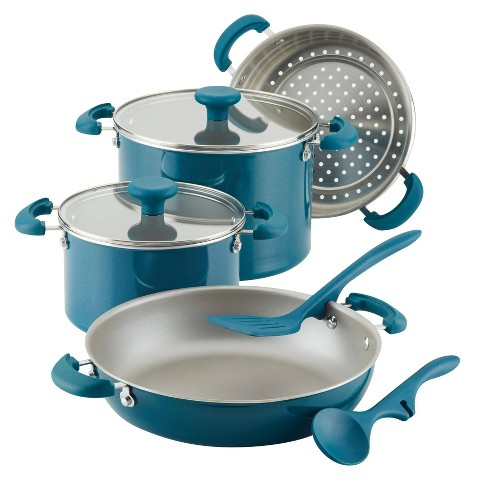 Rachael Ray Create Delicious 8pc Aluminum Nonstick Cookware Stacking Set Teal - image 1 of 4