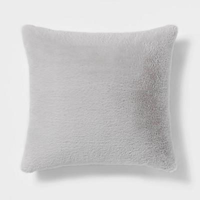 "18""x18"" Faux Rabbit Fur Square Throw Pillow Light Gray - Threshold™"