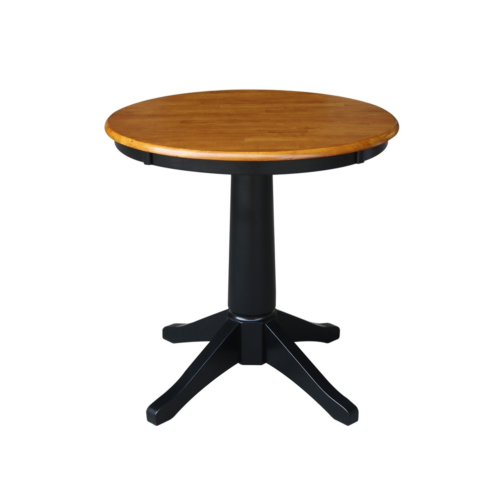 "Image of ""30"""" Linc Round Top Pedestal Table Dining Height Black/Cherry - International Concepts"""