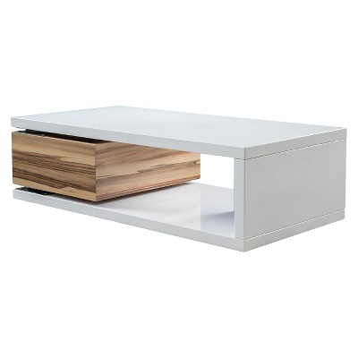 Cullen Rectangular Rotatable Coffee Table w/ Storage Glossy White/Wood Tone - Christopher Knight Home