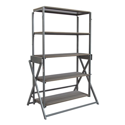 Origami 2 in 1 Multifunctional 52 Inch Tall Wooden Display Storage Shelf To 60 Inch Long Table Desk Unit for Indoor and Outdoor Spaces, Gray