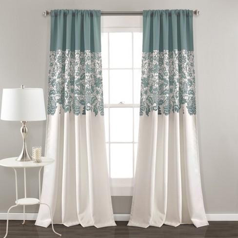 "Estate Garden Print Room Darkening Window Curtain Set (84""x52"") - Lush Dcor - image 1 of 4"