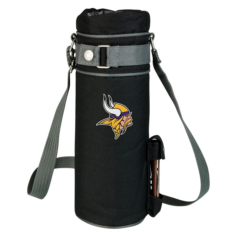 Minnesota Vikings - Wine Sack Beverage Tote by Picnic Time (Black) Those who enjoy wine will appreciate the style and simplicity of the Wine Sack, an insulated single-bottle tote with an adjustable shoulder strap. It features a stainless steel waiter-style corkscrew conveniently stored in its own secure pocket. The Wine Sack is made of polyester canvas with complementing brown trim. The tote is fully-insulated to keep your wine at the perfect temperature until you're ready to uncork it. Perfect for any occasion. When you'd like to bring your own wine to share, let the Wine Sack help you take it there! Color: Minnesota Vikings.