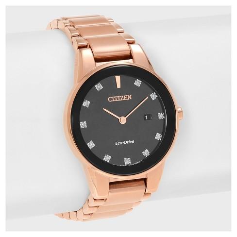 Women s Citizen Axiom GA1058-59Q Stainless Steel Diamond Accent Dial  Bracelet Watch - Rose Gold Black   Target c507cda055