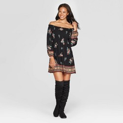 Women's Floral Print Long Sleeve Smocked Top Off the Shoulder Mini Dress - Xhilaration™ Black