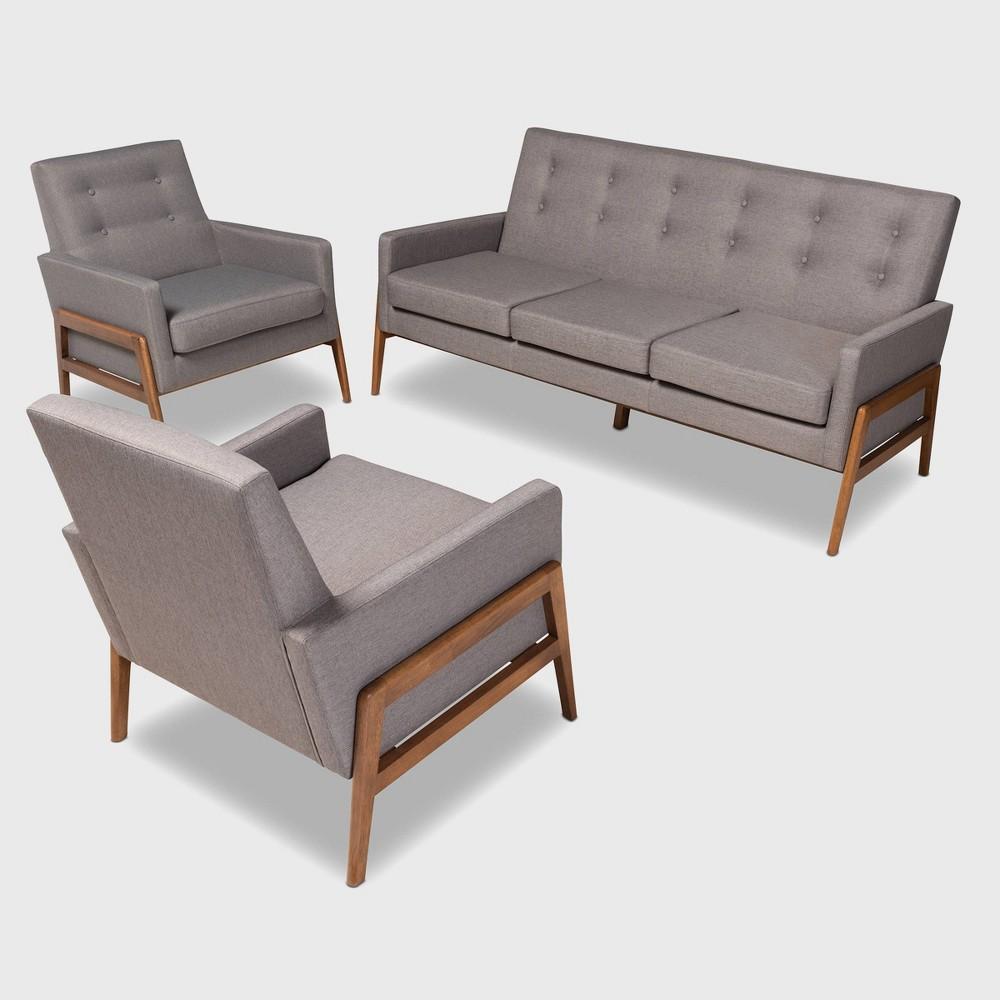 3pc Perris Upholstered Wood Living Room Set Light Gray Walnut Baxton Studio