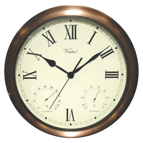 """Weather Center 15"""" Round Wall Clock Off-White/Copper - Poolmaster - image 1 of 1"""