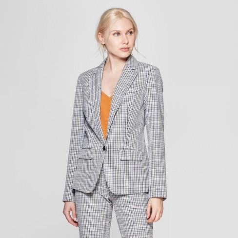 b0fe78eba6e Women s Plaid Bi-Stretch Twill Blazer - A New Day™ Gray   Target