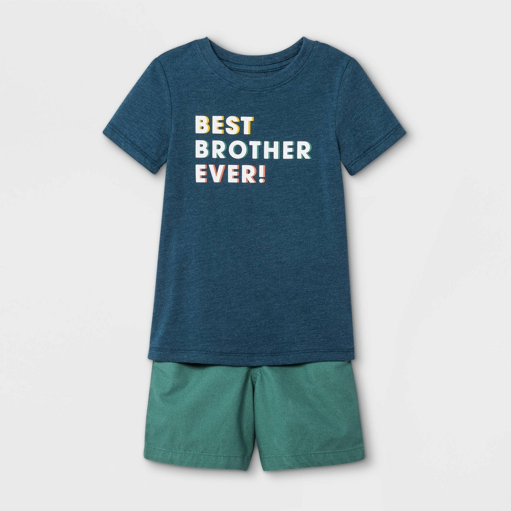 Toddler Boys 39 2pc 39 Best Bro Ever 39 Short Sleeve Graphic T Shirt And Woven Shorts Set Cat 38 Jack 8482 Blue Green 4t
