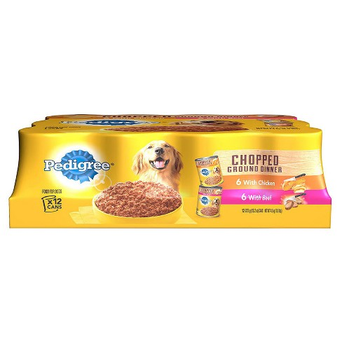 Pedigree Chopped Ground Dinner Multipack Beef & Chicken Canned Dog Food - 13.2oz / 12pk - image 1 of 1