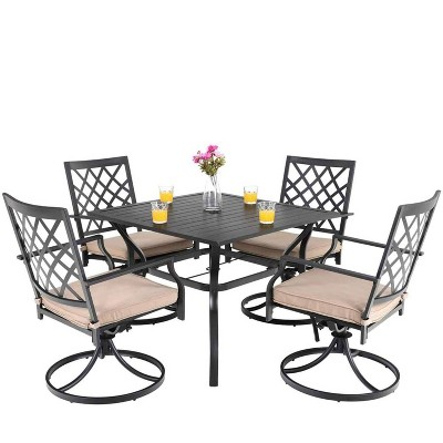 "5pc Patio Set with 37"" Metal Table & Swivel Arm Chairs - Captiva Designs"