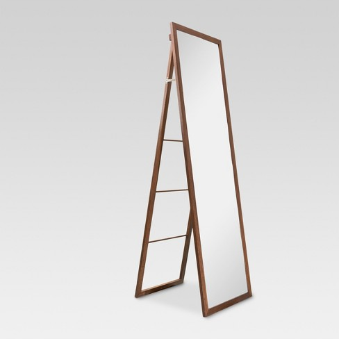Wood Ladder Standing Floor Mirror Walnut Threshold Target
