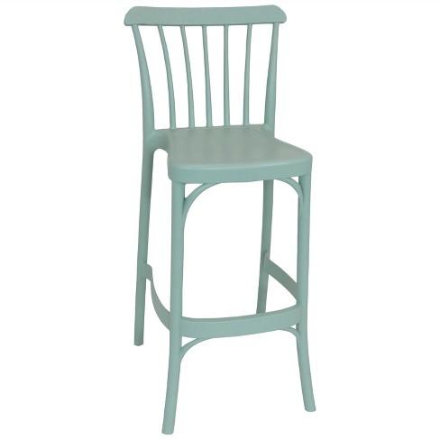 Woodway Plastic Patio Barstool Chair - Light Green - Sunnydaze Decor - image 1 of 4