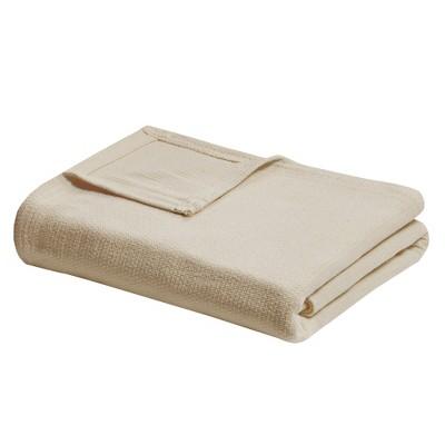 King Freshspun Basketweave Cotton Bed Blanket Natural