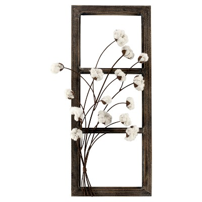 Wood Frame with Cotton Flowers Wall Sign Panels Brown 31  x 13  - VIP Home & Garden