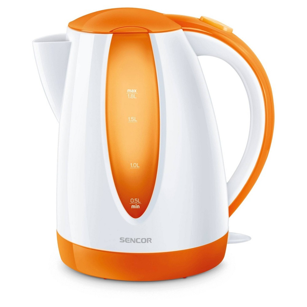 Sencor 1.8L Electric Kettle - Cordless electric kettles by Sencor heats water twice as fast as stove top, offering better speed, convenience, energy efficiency and safety! This electric kettle comes with a 360 degree swivel and bright finish. Color-coordinate with other kitchen electrics by Sencor to create a beautiful kitchen with European design touch! Color: Orange. Gender: unisex.